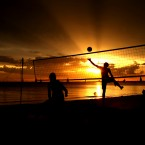 A game of volleyball on St Kilda Beach, Australia.