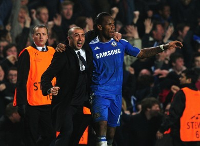 A slightly excited Di Matteo with Chelsea striker Didier Drogba.