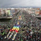 Huge crowds bring some colour to O'Connell Bridge (Photo: Niall Carson/PA Wire)