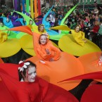 Dancers from Dublin's Atomic Stage School put on a colourful display during St. Patrick's Day parade in Dublin, Saturday, March 17, 2012. Gardai estimate a half-million spectators lined the route of the parade, the biggest of more than 50 across Ireland honouring the nation's patron saint. (AP Photo/Shawn Pogatchnik)