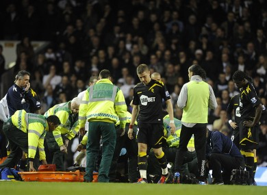 The Bolton medical team tend to Fabrice Muamba