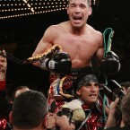 Sergio Martinez celebrates after defeating Matthew Macklin in a middleweight boxing bout. (AP Photo/Frank Franklin II)