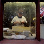 Cup Handler, Lynne Harvey, works on Burleigh's Jubilee ware at Middleport Pottery in Burslem, Stoke-on-Trent.