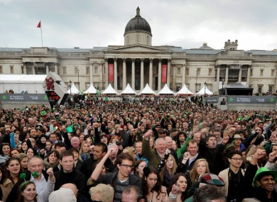 People in London Trafalgar's Square this afternoon for the Patrick's Day celebrations (just one day late)