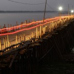 An overview of a bamboo bridge on the Mekong river at Koh Soten island of Kampong Cham province, about 120 km north of Phnom Penh, Cambodia. (AP Photo/Heng Sinith)