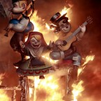 Papier mache figures are burned during the Fallas festival in Valencia, Spain. (AP Photo/Alberto Saiz)