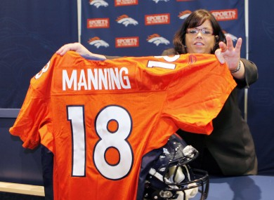 Manning's number 18 jersey has been revealed.