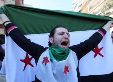 Anti-Syrian regime protesters in Beirut, Lebanon on Friday.
