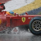 It rained somewhere this week: Ferrari's Fernando Alonso in action during the Malaysian Grand Prix.