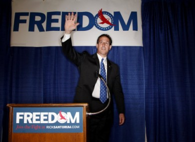 Santorum at the Racine, Wisconsin rally yesterday.