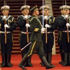 Members of a Chinese guard of honor contingent rehearse for the welcome ceremony (AP Photo/Ng Han Guan)