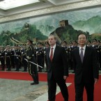 Wen Jiabao and Enda Kenny walk together after inspecting a Guard of Honor contingent during a welcome ceremony at the Great Hall of the People in Beijing, China today (AP Photo/Ng Han Guan)
