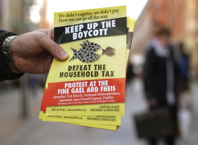 A leaflet urging people to protest at the Fine Gael Ard-Fheis this weekend