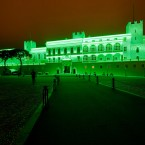 The palace of Prince Albert and Princess Charlene of Monaco turned green at sunset on Saturday evening to mark Patrick's Day (Photo: Gaetan Luci/Palais Princier)
