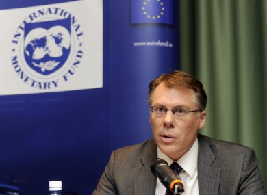 The IMF's Craig Beaumont at a press conference in Dublin in January. The IMF has warned that the Irish economy faces larger problems than first thought.