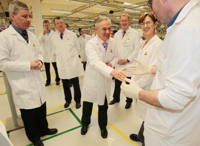 Jobs Minister Richard Bruton meets researchers on a visit to Siemens Healthcare Diagnostics plant in Dublin today.
