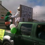 Susan also spotted this septic tank protest at the parade in Dingle. The sign on the back of the truck is possibly our favourite thing of the day so far. It says: 