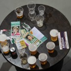 A table of beer and campaign leaflets on the second day of the Fianna Fail Ard Fheis in the RDS, Dublin. Photo: Laura Hutton/Photocall Ireland