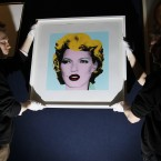 Banksy's work entitled 'Kate Moss'. The Andy Warhol inspired 'Kate Moss' is expected to sell for between 30,000 to 50,000  (AP Photo/Alastair Grant)