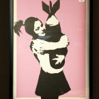 Original art work by the legendary street artist Banksy,'Bomb Love'' sold at Bonhams auction house in January 2011. (Antony Jones/PA Images)