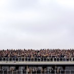 General view of punters at the races.