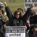 Actress Susan Sarandon gives the peace sign during a rally opposing the war in Iraq on the National Mall in 2007. (Kevin Wolf/AP Photo)