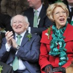 President Michael D Higgins and his wife Sabina enjoy the parade (Photo: Laura Hutton/Photocall Ireland)