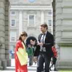 Ahead of tonights Irish premiere of American Pie: Reunion, actor Sean William Scott  was honored with the Gold Medal of Honorary Patronage by the University Philosophical Society at Trinity College Dublin. He is pictured here with Vice-Provost of Trinity, Professor Linda Hogan (Picture: Sasko Lazarov / Photocall Ireland)
