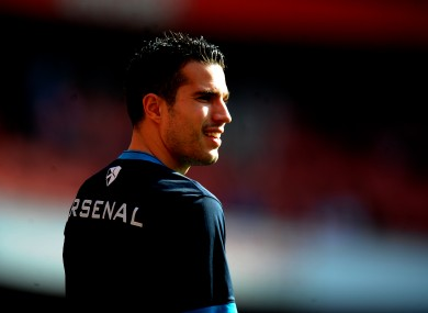 Van Persie warming up.