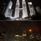 This combination of two photos showing Malaysia's landmark Petronas Twin Towers before (top) and after (bottom) being turned off the lights to mark Earth Hour in Kuala Lumpur, Malaysia. (AP Photo/Lai Seng Sin)