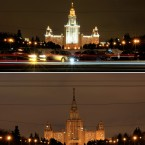 This combination picture of Moscow State University taken before and after the lights were turned off during the worldwide Earth Hour, a global campaign to highlight the threat of climate change in Moscow, Saturday, March 31, 2012. (AP Photo/Sergey Ponomarev)