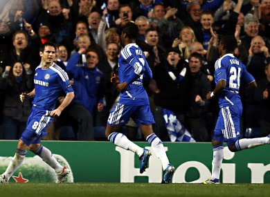 Lampards celebrates with Mikel and Kalou.