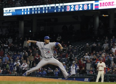 Blue Jays relief pitcher Sergio Santos closes out the game in the 16th inning.