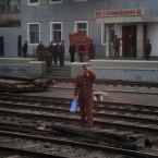 A North Korean man tries to cross the railway tracks as a train passes by heading to North Phyongan Province, about 50 kilometers south of the border town of Sinuiju along North Korea's west coast last Sunday. North Korean officials escorted a group of international media by train from Pyongyang to see the country's Unha-3 rocket, slated for liftoff between April 12-16, at Sohae Satellite Station in Tongchang-ri, North Korea. (AP Photo/Ng Han Guan)