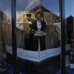 A shop with a window decorated with the Titanic movie theme in Cobh (AP Photo/Lefteris Pitarakis)