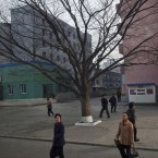 Residents of Pyongyang, North Korea walk along a street in the capital's downtown earlier this week. (AP Photo/David Guttenfelder)