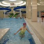 A North Korean woman wades in the pool at the Kim Il Sung University in Pyongyang (AP Photo/Ng Han Guan)