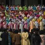 A North Korean choir performs on the steps of a public building in Pyongyang, North Korea on Wednesday (AP Photo/David Guttenfelder)
