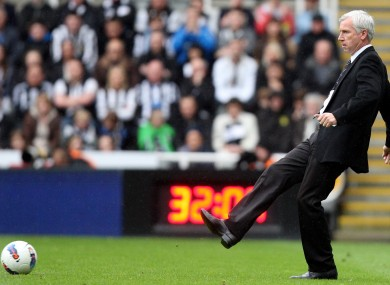 Newcastle United's manager Alan Pardew shows off his own skills against Bolton last week.