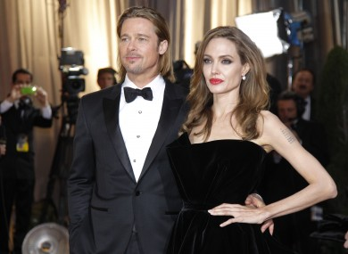 Brad and Angelina at this year's Oscars. Not pictured: Angelina's right leg.