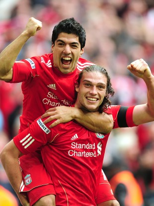 Liverpool's scorers celebrate
