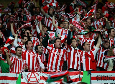 Bilbao supporters celebrate.