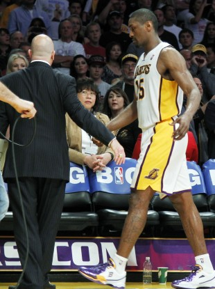 Metta World Peace leaves the court after he was ejected against the Oklahoma City Thunder.