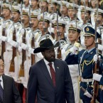 South Sudan's President Salva Kiir, right, reviews an honor guard with Chinese President Hu Jintao, left, during a welcoming ceremony at the Great Hall of the People in Beijing, China, today (AP Photo/Alexander F. Yuan)