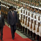President Salva Kiir reviews an honor guard with Chinese President Hu Jintao during a welcoming ceremony at the Great Hall of the People in Beijing, China. (AP Photo/Alexander F. Yuan)
