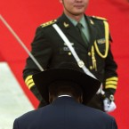 President Salva Kiir bows after reviewing an honor guard with Chinese President Hu Jintao (AP Photo/Alexander F. Yuan)