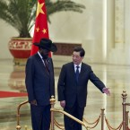 Hu Jintaoi and Salva Kiir (AP Photo/Alexander F. Yuan)