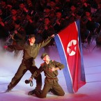North Korean military performers take part in a concert on the eve of the 80th anniversary of the founding of the North Korean army in Pyongyang. (AP Photo/Ng Han Guan)