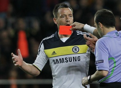 John Terry was dismissed for an off-the-ball kick at Alexis Sanchez.