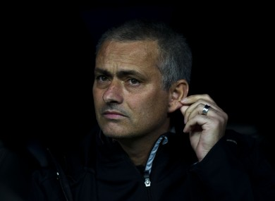 Mourinho on the bench in Madrid last night.